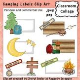 Camping Theme Labels or Frames Clip Art Color  personal &