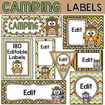 Camping Theme Labels for supplies, bins, binder covers, signs etc