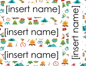 Camping Theme Name Tags