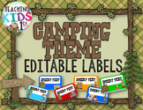 Camping Theme Editable Name Tags or Labels