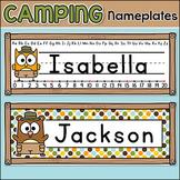 Camping Name Plates - Woodland Animals Classroom Theme