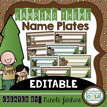 Camping Theme Nameplates EDITABLE