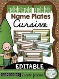 Camping Theme Nameplates Cursive - Editable