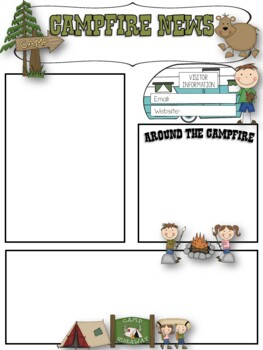 camping theme editable newsletters template- powerpoint file | tpt, Modern powerpoint