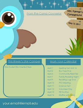 Camping Theme + Newsletter Template (portrait only)