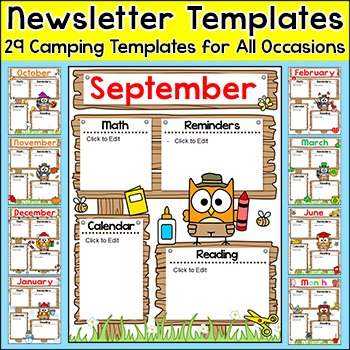 Newsletter Template - Camping Theme Classroom Decor