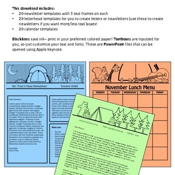 Camping Theme Newsletter Templates - Plus Letterheads and Calendars