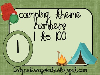 Camping Theme Number Cards 1 to 100