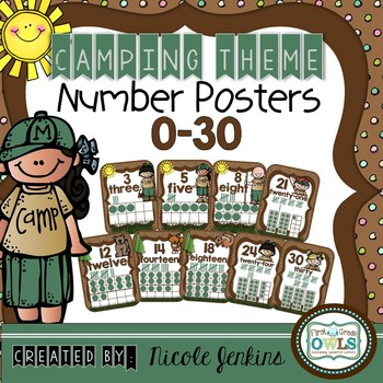 Camping Theme Number Posters 0-30