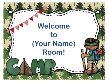 camping theme open house back to school powerpoint template editable text