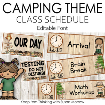 Camping Theme Schedule Cards: Camping Theme Classroom Decor