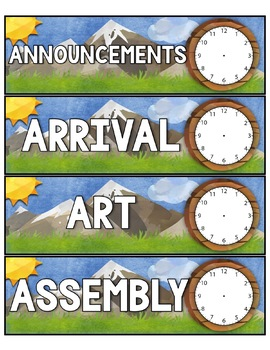 Camping Theme Schedule Cards Editable