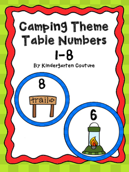 Camping Theme Table Numbers 1-8.