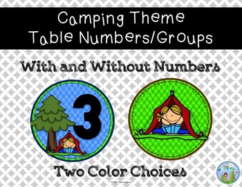 Camping Theme Table Numbers/Groups