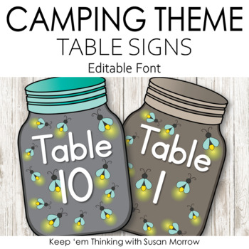 Camping Theme Table Signs: Camping Theme Classroom Decor