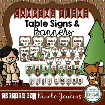 Camping Theme Table Signs and Banners