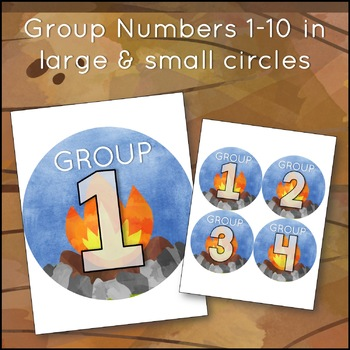 Camping Theme Table and Student Number Labels