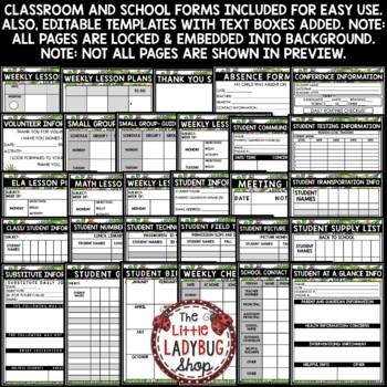 Camping Theme Classroom Teacher Binder Editable- Newsletter, Teacher Planner