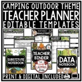 Camping Theme Classroom Teacher Binder Editable- Newsletter, Teacher Planner