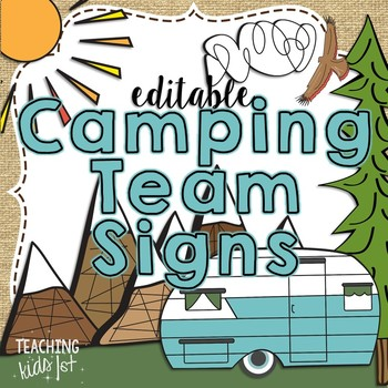 Camping Theme Editable Team Signs