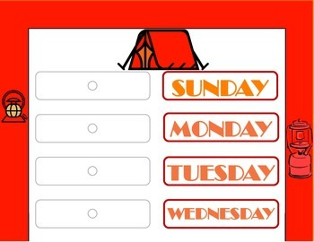 Camping Theme Weekday Chart! Camping Bulletin Board! Camping Days of the Week!