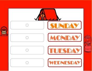 Camping Theme Weekday Chart! Camping Bulletin Board! Campi