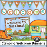 Camping Theme Welcome Banner, Pennants and Door Sign