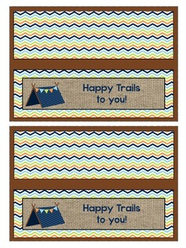 Camping Theme goody bag labels