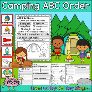 Camping Themed ABC Order Center/Station with differentiation options