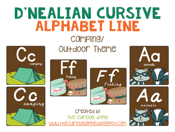 Camping Themed Alphabet Line {Primary Print & D'Nealian Print)