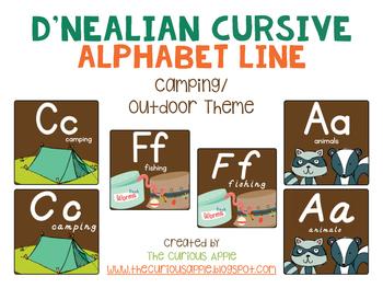 Camping Themed Alphabet Line {Primary Print & D'Nealian Print)