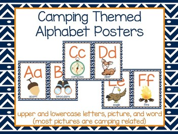 Camping Themed Alphabet Posters- Half page size