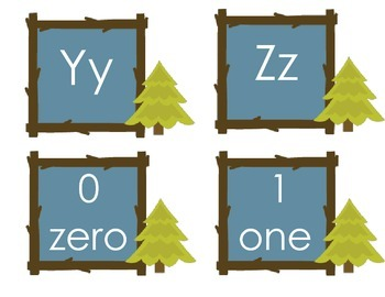 Camping Themed Alphabet and Number Cards
