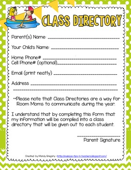 Camping Themed Back to School Parent Forms