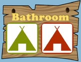 Camping Themed Bathroom Sign