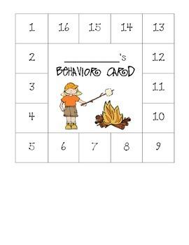 Camping Themed Behavior Card