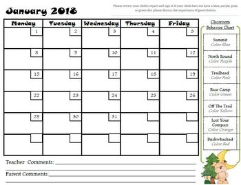 Camping Themed Behavior Clip Chart and Clip Chart Behavior Calendars