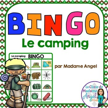 Camping Themed Bingo Game in French