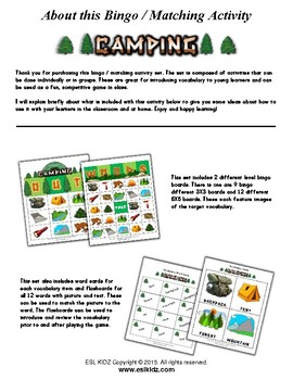 Camping Themed Bingo / Matching Activities