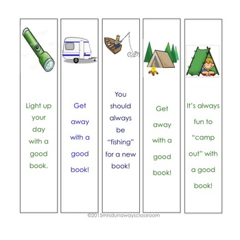 Camping Themed Bookmarks