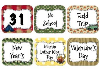 Camping Themed Calendar Cards {Editable}