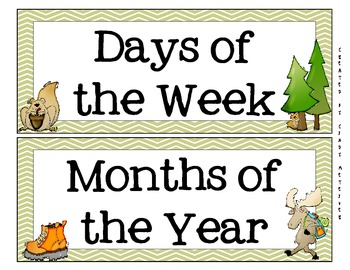 Camping Themed Calendar, Months, & Days of the Week Headers