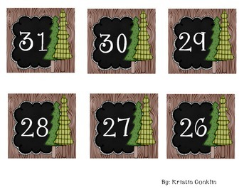 Camping Themed Calendar Numbers Trees