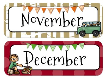 Camping Themed Calender Headers l Months and Days of the Week