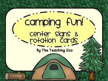 Camping Themed Center Signs and Rotation Cards