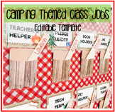 Camping Themed Class Jobs! EDITABLE!