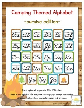 Camping Themed Classroom ABC Cursive Printables