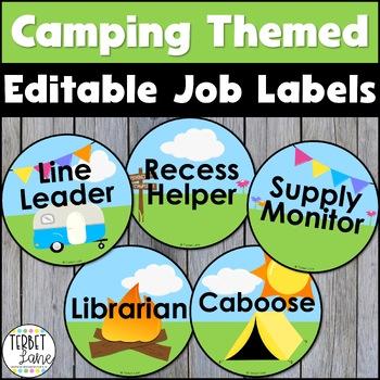 Camping Themed Classroom Job Labels