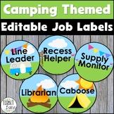 Editable Camping Themed Classroom Job Labels