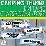 Editable Classroom Jobs Labels Camping Themed